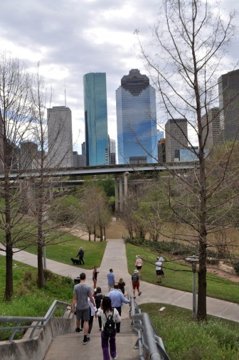 Leading with Landscape conference attendees take in the commanding view of the Houston skyline that 30 feet will get you in Buffalo Bayou greenway. Photo by Iris Dimmick.