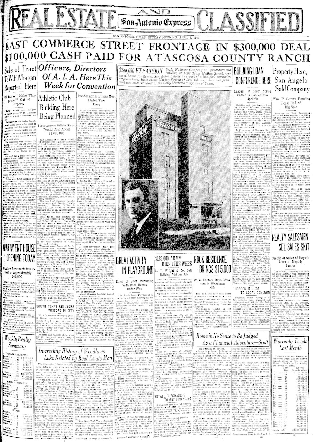 The real estate and classifieds section of the San Antonio Express News on April 5, 1931.