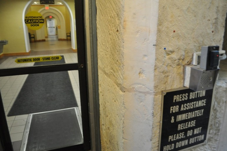 The basement entry and call button at City Hall. Photo by Iris Dimmick.