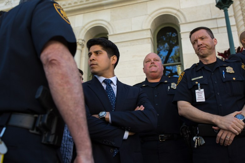 Councilman Rey Saldana (D4) holds the press conference on the count of Mayor Taylors absence. Photo by Scott Ball.