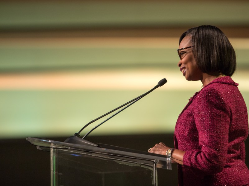 Mayor Ivy Taylor gives her United State of the City address during a San Antonio Chamber of Commerce luncheon at the Henry B. Gonzalez Convention Center. Photo by Scott Ball.