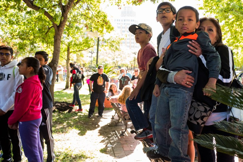 Eloisa Rodriguez holds her grandson Jacob, 8 years old while standing on a bench. Photo by Scott Ball.