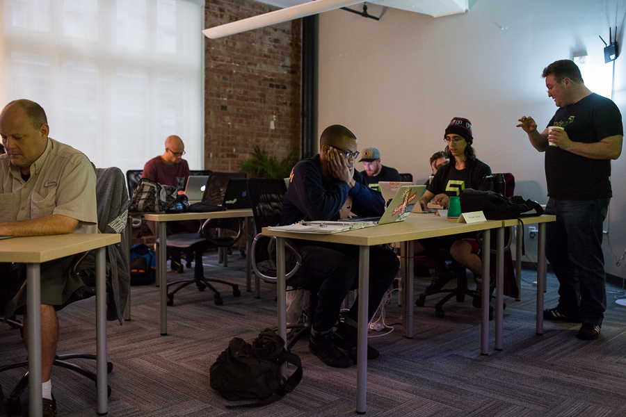 A Codeup class takes place in its new location in the Vogue Building on Houston Street. Photo by Scott Ball.