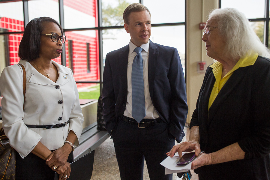 Mayor Ivy Taylor, SAISD Board Trustee Steve Lecholop (D1), and SAISD Board President Patti Radle (D5) gather before the news conference. Photo by Scott Ball.