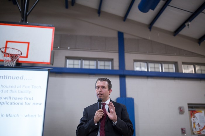 SAISD Superintendent Pedro Martinez answers questions from community members during his presentation unveiling the plans to use Austin Academy and Fox Tech as an accelerated education program. Photo by Scott Ball.