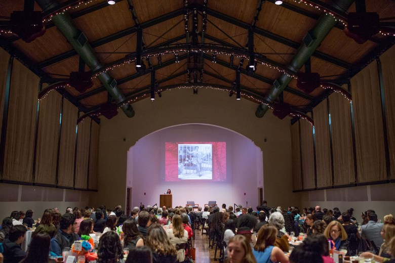 A full house at the McNay Art Museum as author Sandra Cisneros recites an excerpt from her new book. Photo by Scott Ball.