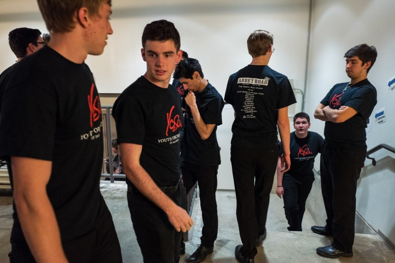 YOSA members congregate backstage moments before their performance. Photo by Scott Ball.