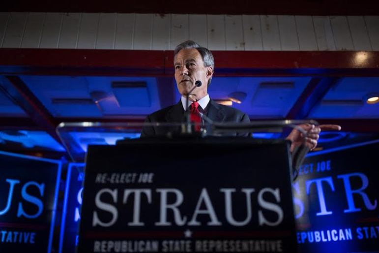 Texas House Speaker Joe Straus speaks to supporters. Photo by Scott Ball.