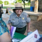National Park Ranger Anna Martinez-Amos speaks about the changes at Mission San Jose. Photo by Kathryn Boyd-Batstone