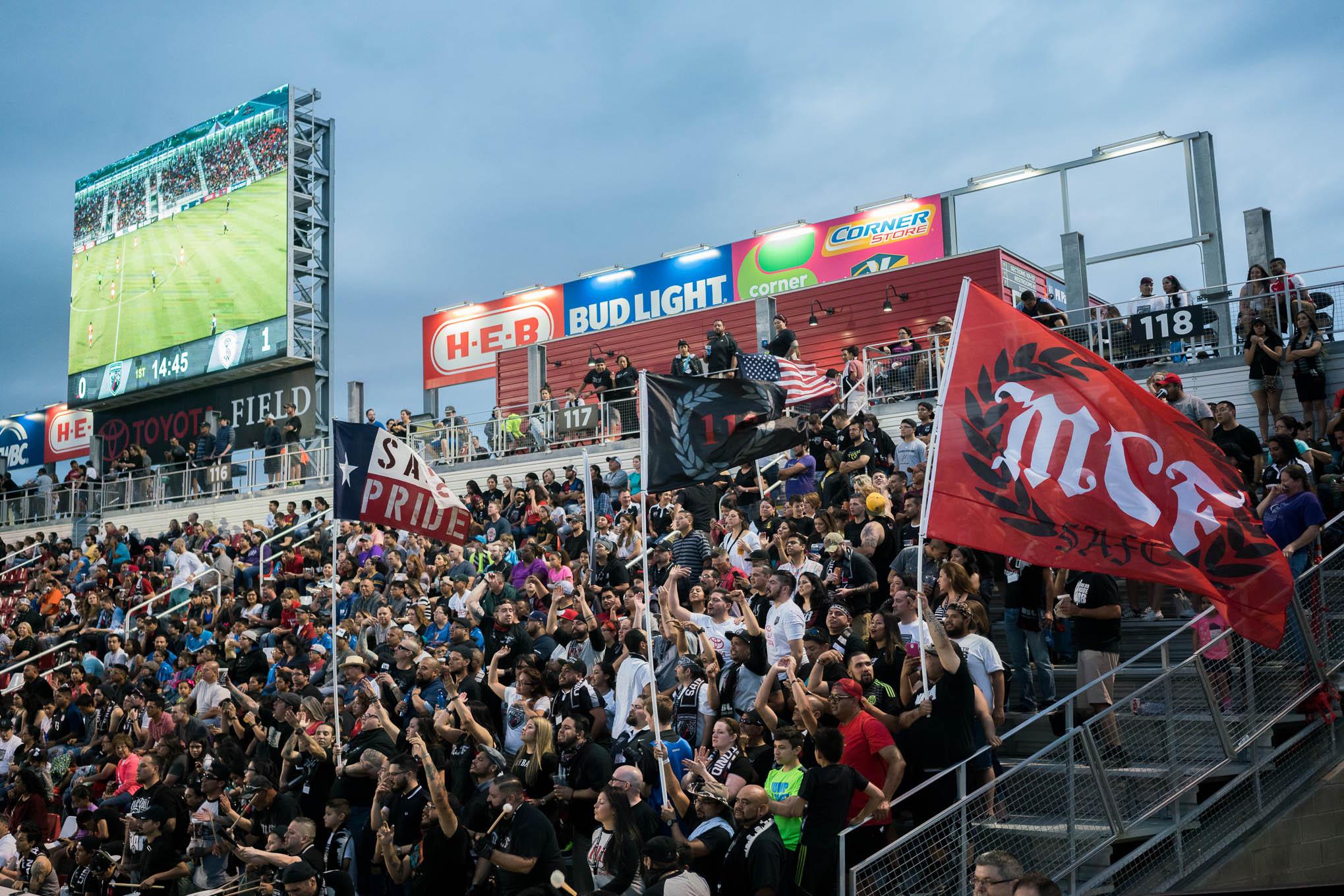 San Antonio FC fans cheer loudly against Swope Park. Photo by Kathryn Boyd-Batstone