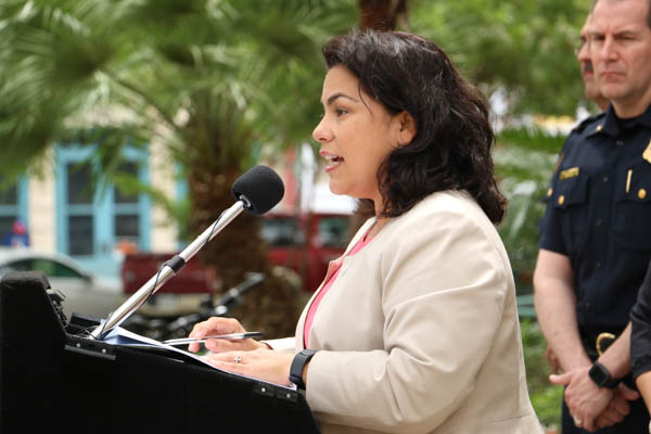 """Councilwoman Rebecca Viagran (D-3) gives positive remarks in support of the """"Start By Believing"""" campaign in both English and Spanish at City Hall. Photo by Bria Woods."""