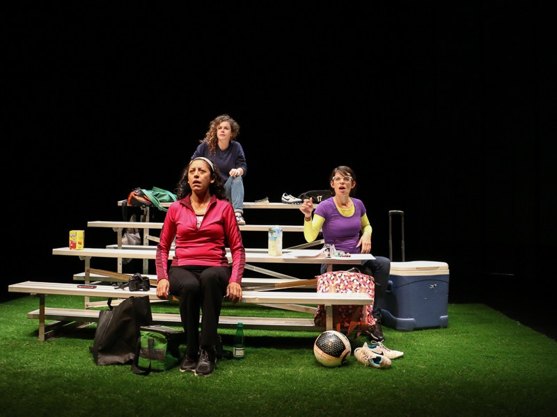 """Actresses, Maggie Tonra (left), Anna De Luna (center) and Georgette Lockwood (right) rehearse for the AtticRep production """"Soccer Mom,"""" Directed by Marisela Barrera, at the Tobin Center for the Performing Arts. Photo by Bria Woods."""