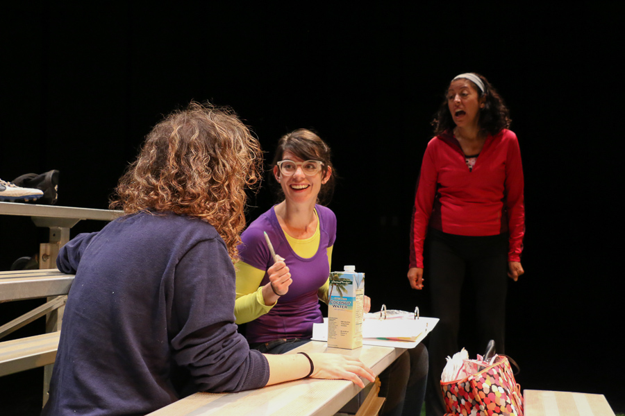 """AtticRep actresses Maggie Tonra, Georgette Lockwood, and Anna De Luna rehearse for their upcoming performance in """"Soccer Mom,"""" directed by Marisela Barrera. Photo by Bria Woods."""