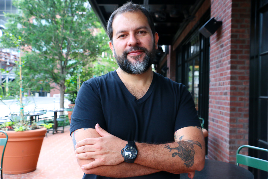 Chef Enrique Olvera poses for a photo outside of Hotel Emma's Supper. Photo by Bria Woods.