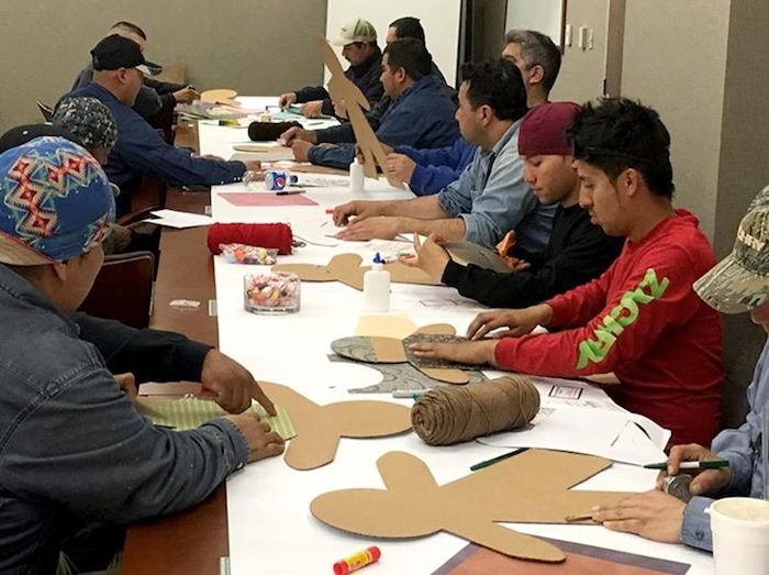Zachry Group has decorated 500 Cardboard Kids to spread around the community. Photo courtesy of Zachry Group/ChildSafe.