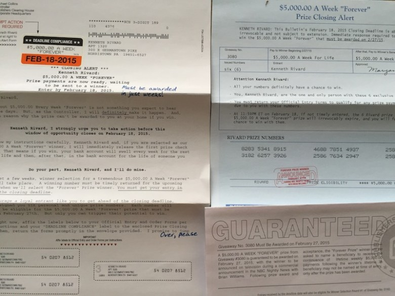 My father obsessively pursued Sweepstakes mailings and other come-ons.