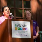 Councilwoman Rebecca Viagran (D3) speaks about the importance of exercise. Photo by Kathryn Boyd-Batstone