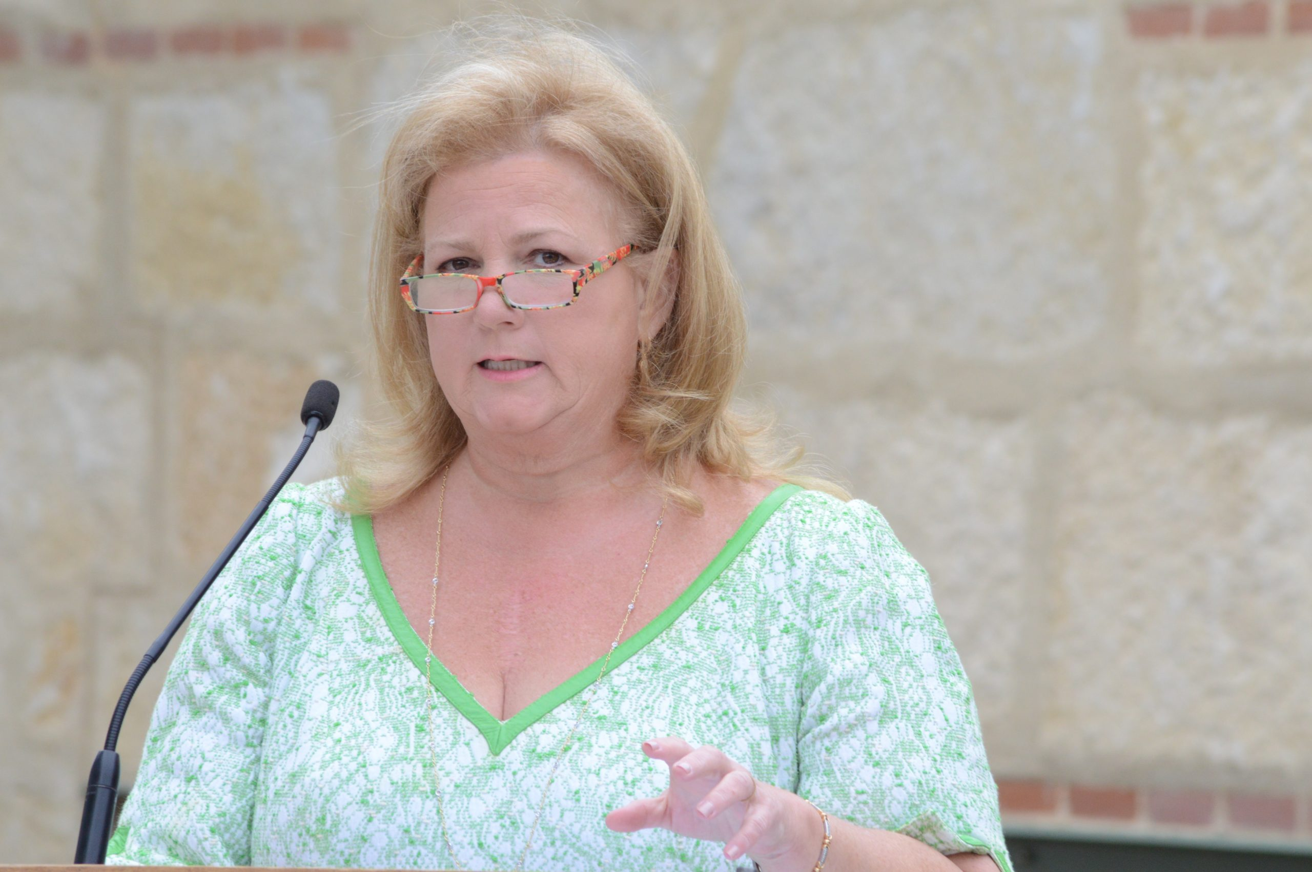 Kathy Mays Johnson discusses her family's vision for the new Mays Family Center. Photo by Lea Thompson