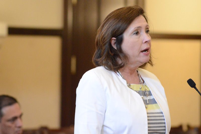 San Antonio River Authority General Manager Suzanne Scott updates Bexar County Commissioners on the San Pedro Creek Improvements Project. Photo by Lea Thompson.