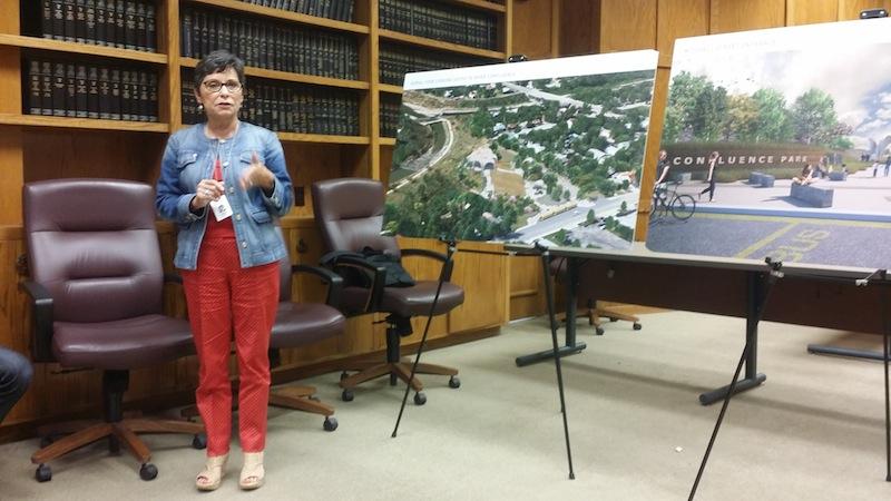 San Antonio River Foundation Executive Director Estela Avery explains the timeline for Confluence Park's construction. Photo by Iris Dimmick.