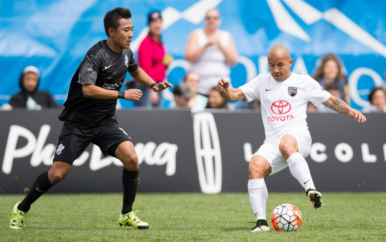 April 23, 2016; Colorado Springs, CO, USA; San Antonio FC midfielder Rafael Castillo (16) controls the ball against Switchbacks FC midfielder Taeseong Kim (35) in the first half at Switchbacks Stadium. Credit: Isaiah J. Downing/Switchbacks FC