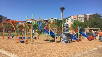 View of the completed playground at Labor Street Park. Photo Courtesy of BCBS.