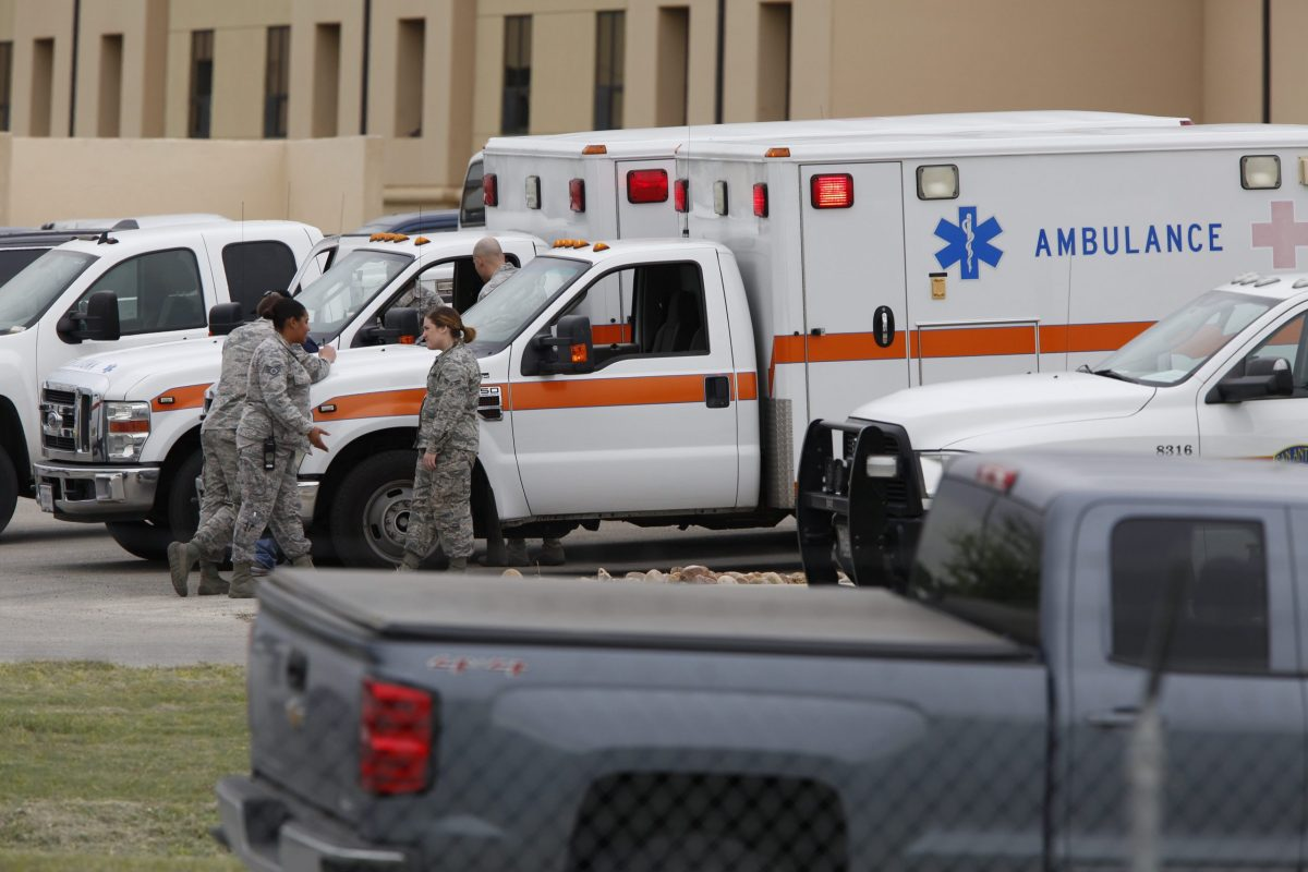 Ambulances outside of the Lackland Air Force Base. Photo by Scott Ball.