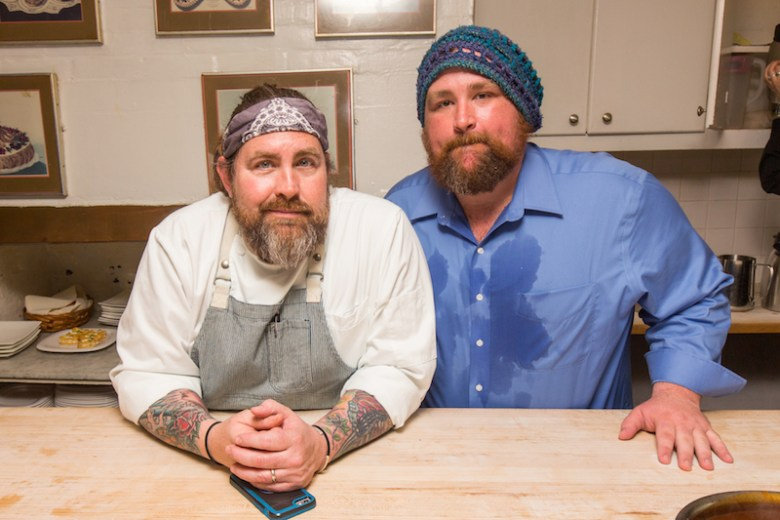 Chef Jeff Balfour and Brewmaster Les Locke inside the kitchen at the James Beard House. Photo by Jeffrey Gurwin.