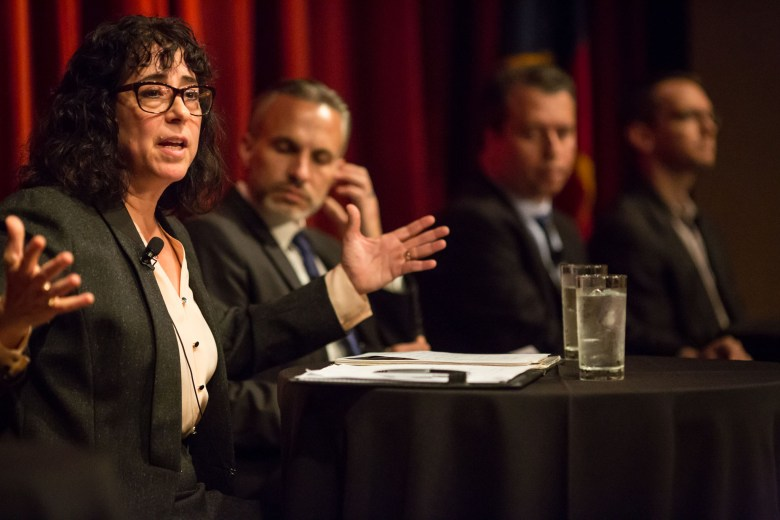 Pre-K 4 SA Board Chair Elaine Mendoza speaks on the state of public education in San Antonio, Texas. Photo by Michael Cirlos.