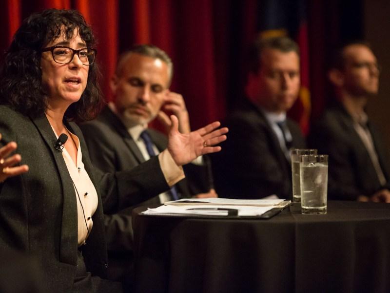 Pre-K 4 SA Board Chair Elaine Mendoza speaks on the state of public education in San Antonio, Texas. Photo by Michael Cirlos.