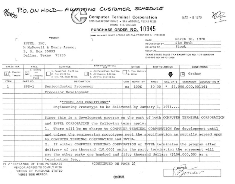 Recently discovered by the original salesman, this 1970 purchase order shows the offbeat agreement between CTC (renamed Datapoint in 1972) and Intel to create the 8008, the first computer-grade microprocessor chip. Although referenced here, there was no information on page two.