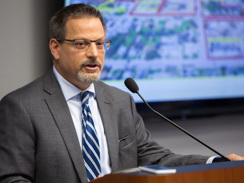 Interim President & CEO of the San Antonio Housing Authority David Nisivoccia gives a presentation on current SAHA projects in the Eastside Promise Neighborhood. Photo by Scott Ball.