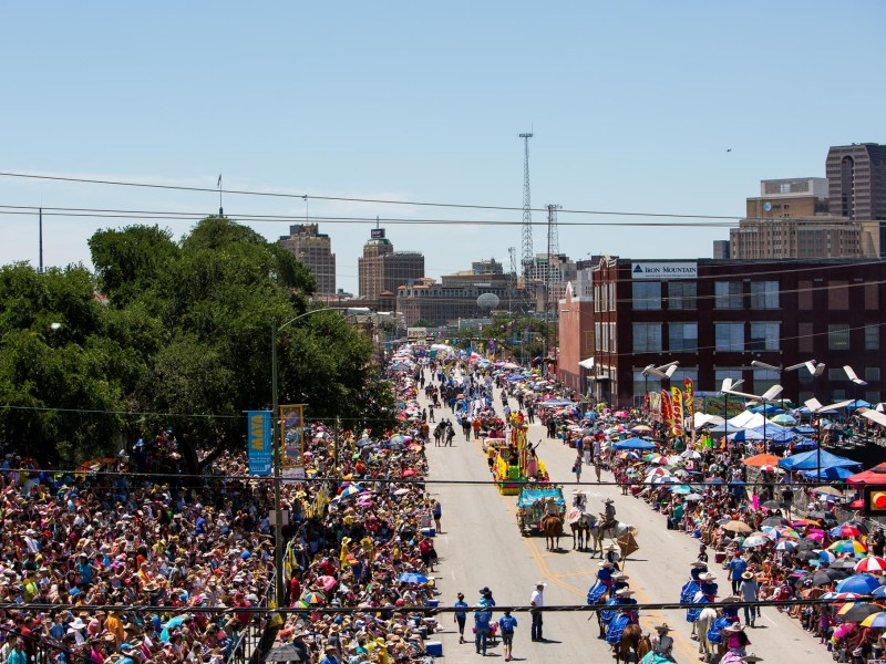 The view of the Battle of Flowers parade heading South on Broadway. Photo by Scott Ball.