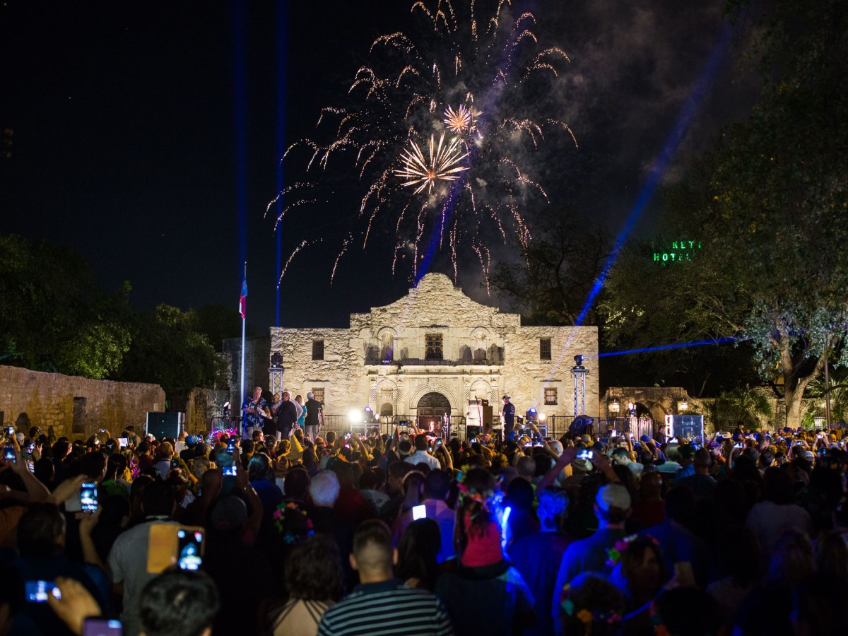Fireworks shower over The Alamo during the Fiesta Fiesta event. Photo by Scott Ball.