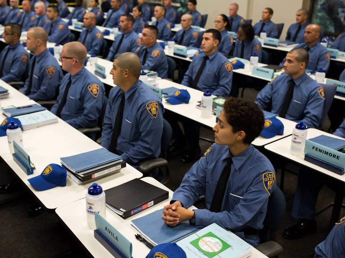 San Antonio Police Academy Cadets sit in a classroom during their first day of training. Photo by Scott Ball.
