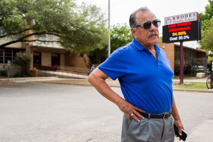 LULAC Concilio Zapatista 4383 Founder Henry Rodriguez stands in front of Rhodes Middle School after receiving multiple calls about the situation. Photo by Scott Ball.