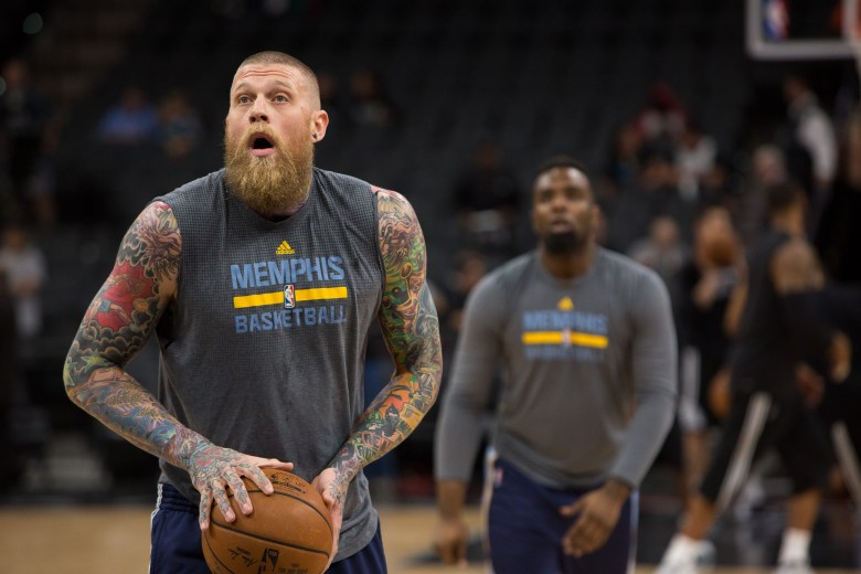 Memphis Grizzlies Center Chris Andersen practices free throws before the game. Photo by Scott Ball.