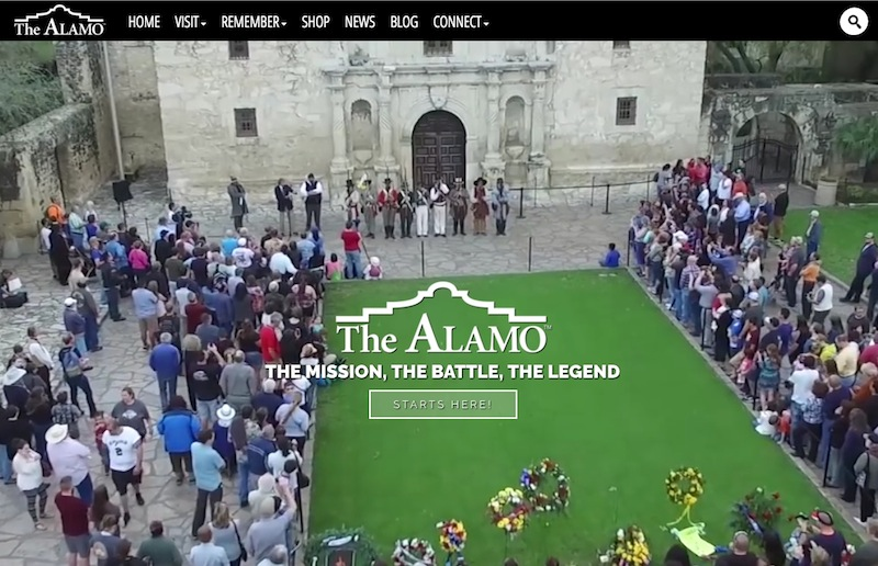 Screen shot of the newly-redesigned www.thealamo.org.