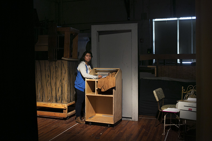 Costume designer Nichole Hernandez looks on as the rehearsal takes place. Photo by Kathryn Boyd-Batstone