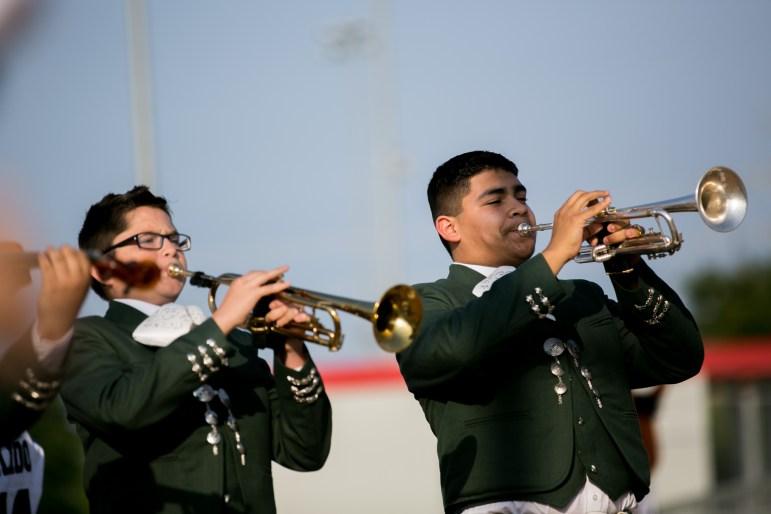 Mariachi Corazón de San Antonio open the City-County Softball game with the National Anthem. Photo by Kathryn Boyd-Batstone
