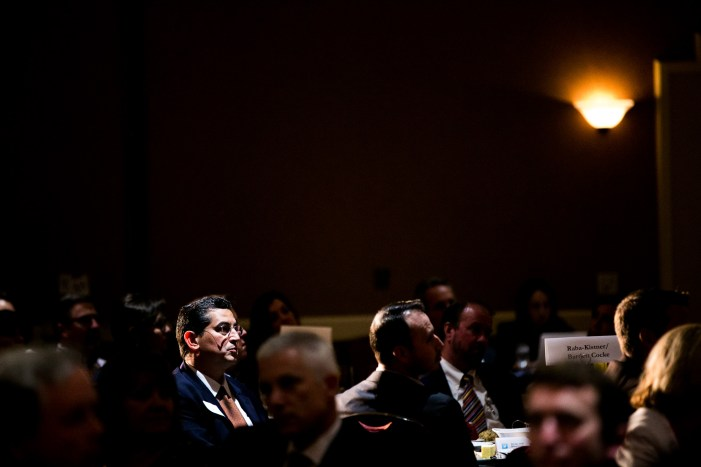 Guests listen to Bexar County Judge Nelson Wolff's keynote about the state of the county. Photo by Kathryn Boyd-Batstone
