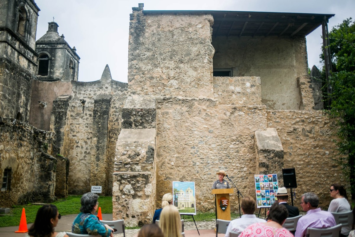 San Antonio Missions National Historical Park Superintendent Mardi Arce explains that Mission Concepción is in the running for a $236,000 preservation grant. Photo by Kathryn Boyd-Batstone