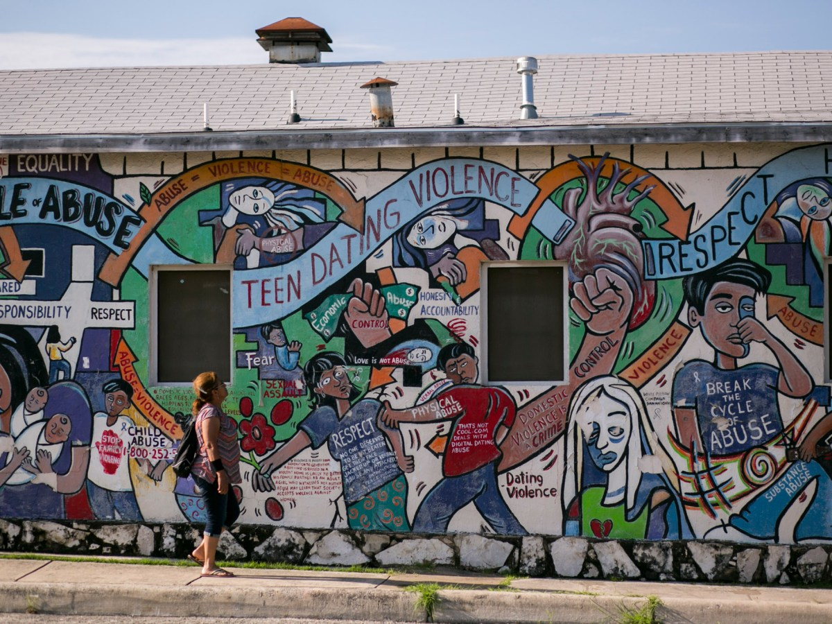 """Breaking the Cycle"""" at the corner of South Zarzamora and San Fernando streets was painted by lead muralist Mary Agnes Rodriguez in 2002. Photo by Kathryn Boyd-Batstone."""