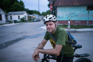 Jeffrey Moore is the founder of SATX Social Ride, a social bike riding group that meets every Tuesday for a ride through Downtown San Antonio. Photo by Kathryn Boyd-Batstone