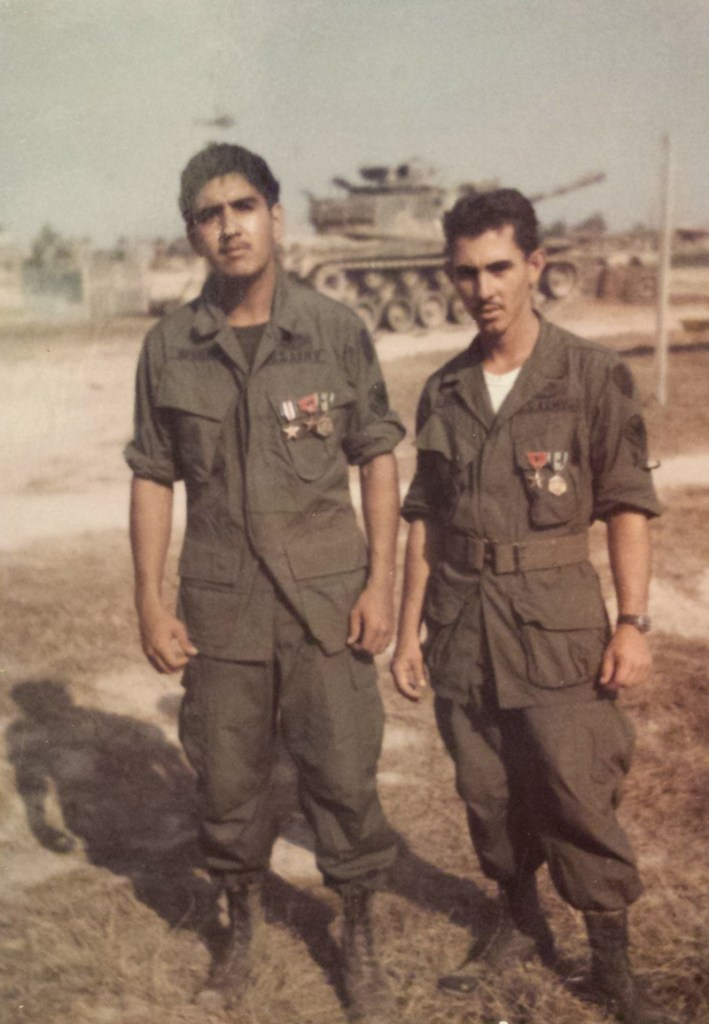Sgt. Fernando Herrera (left) and Pfc. Jose Gomez from Puerto Rico (right) after receiving medals at an awards ceremony at their base camp in Vietnam, circa 1968. Photo courtesy of Sgt. Fernando Herrera.