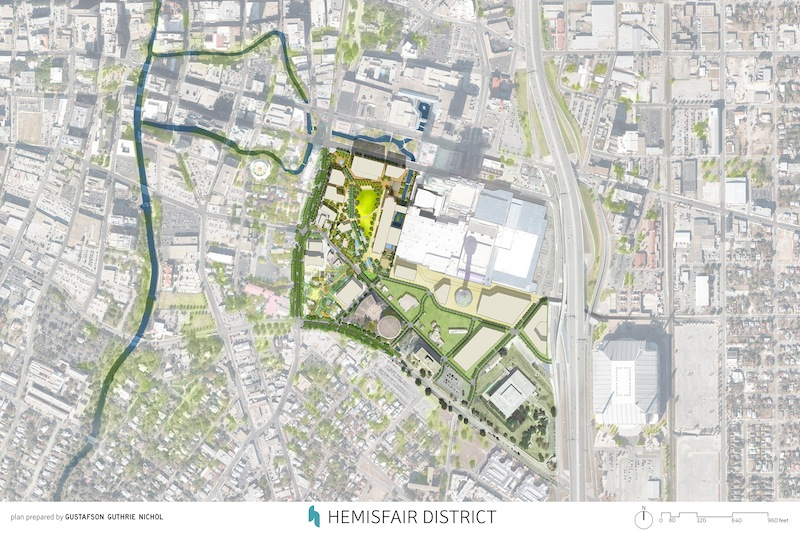 A site plan of Hemisfair Park's redevelopment and expansion. Image courtesy of the Hemisfair Park Area Redevelopment Corporation.
