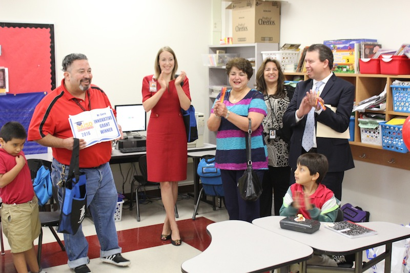 Hawthorne teacher Christopher Sierra shows his surprise by the visit and award. Photo courtesy of SAISD Foundation.
