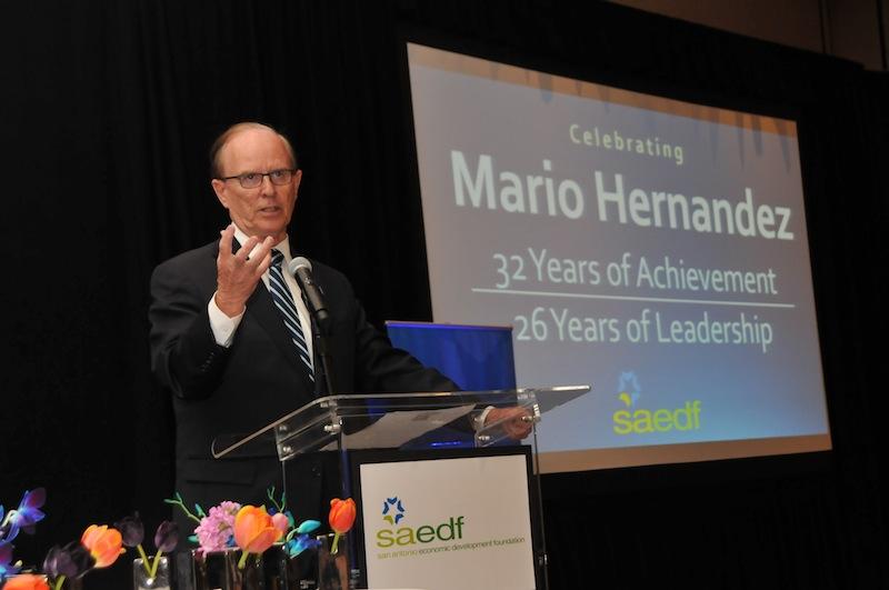 Bexar County Judge Nelson Wolff praised former Mayor Henry Cisneros and outgoing SAEDF President Mario Hernandez. Photo courtesy of the San Antonio Economic Development Foundation.