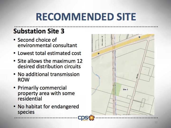 Site #3 was selected by CPS Energy staff for the new substation in the far Eastside. Graphic courtesy of CPS Energy.