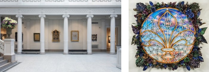 (left) King of Arms, 2013, exhibition at the New Orleans Museum of Art. (right) Wild Magnolia, 2013, collage in custom frame. Photos courtesy of Rashaad Newsome.